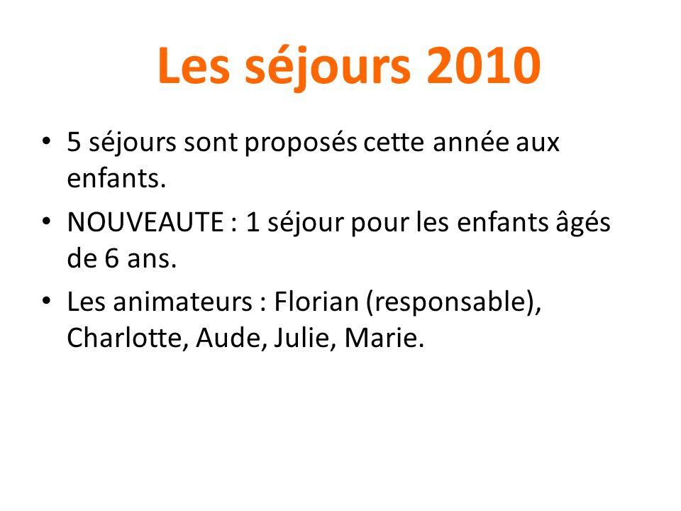 Les séjours 2010 5 séjours sont proposés cette année aux enfants. NOUVEAUTE : 1 séjour pour les enfants âgés de 6 ans. Les animateurs : Florian (respo