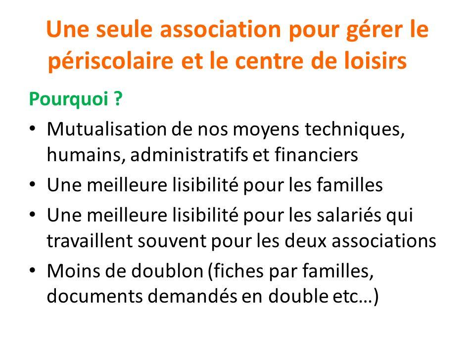Une seule association pour gérer le périscolaire et le centre de loisirs Pourquoi ? Mutualisation de nos moyens techniques, humains, administratifs et