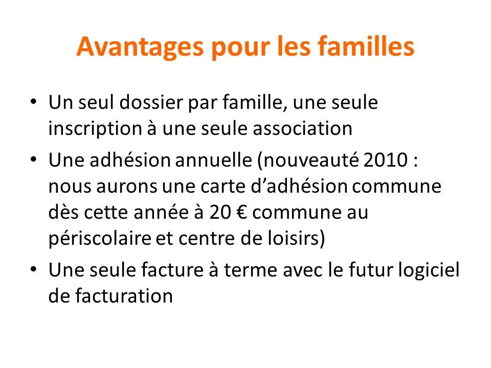 Avantages pour les familles Un seul dossier par famille, une seule inscription à une seule association Une adhésion annuelle (nouveauté 2010 : nous au