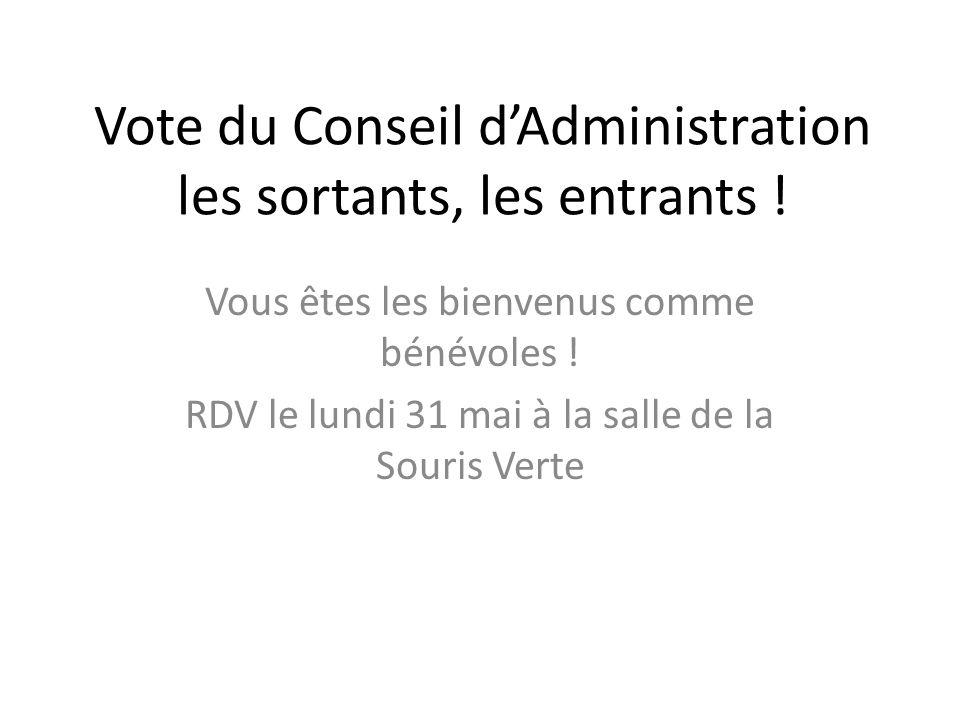 Vote du Conseil dAdministration les sortants, les entrants ! Vous êtes les bienvenus comme bénévoles ! RDV le lundi 31 mai à la salle de la Souris Ver