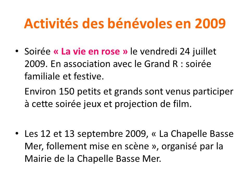 Activités des bénévoles en 2009 Soirée « La vie en rose » le vendredi 24 juillet 2009. En association avec le Grand R : soirée familiale et festive. E