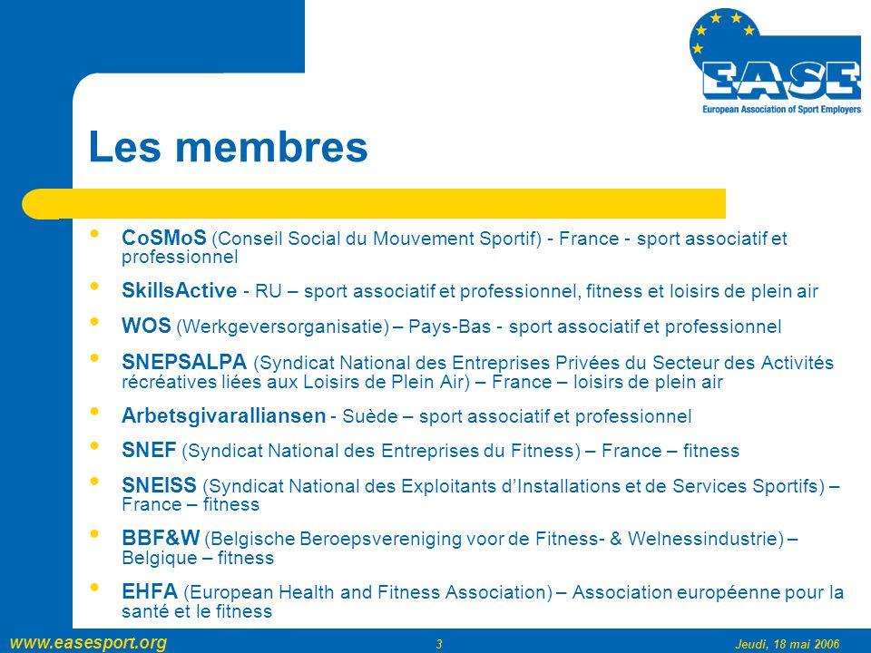 www.easesport.org 3Jeudi, 18 mai 2006 Les membres CoSMoS (Conseil Social du Mouvement Sportif) - France - sport associatif et professionnel SkillsActive - RU – sport associatif et professionnel, fitness et loisirs de plein air WOS (Werkgeversorganisatie) – Pays-Bas - sport associatif et professionnel SNEPSALPA (Syndicat National des Entreprises Privées du Secteur des Activités récréatives liées aux Loisirs de Plein Air) – France – loisirs de plein air Arbetsgivaralliansen - Suède – sport associatif et professionnel SNEF (Syndicat National des Entreprises du Fitness) – France – fitness SNEISS (Syndicat National des Exploitants dInstallations et de Services Sportifs) – France – fitness BBF&W (Belgische Beroepsvereniging voor de Fitness- & Welnessindustrie) – Belgique – fitness EHFA (European Health and Fitness Association) – Association européenne pour la santé et le fitness