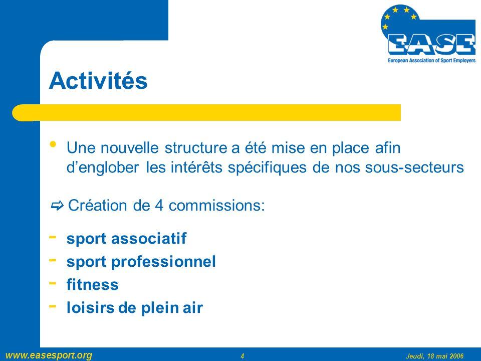 www.easesport.org 4Jeudi, 18 mai 2006 Activités Une nouvelle structure a été mise en place afin denglober les intérêts spécifiques de nos sous-secteurs Création de 4 commissions: - sport associatif - sport professionnel - fitness - loisirs de plein air