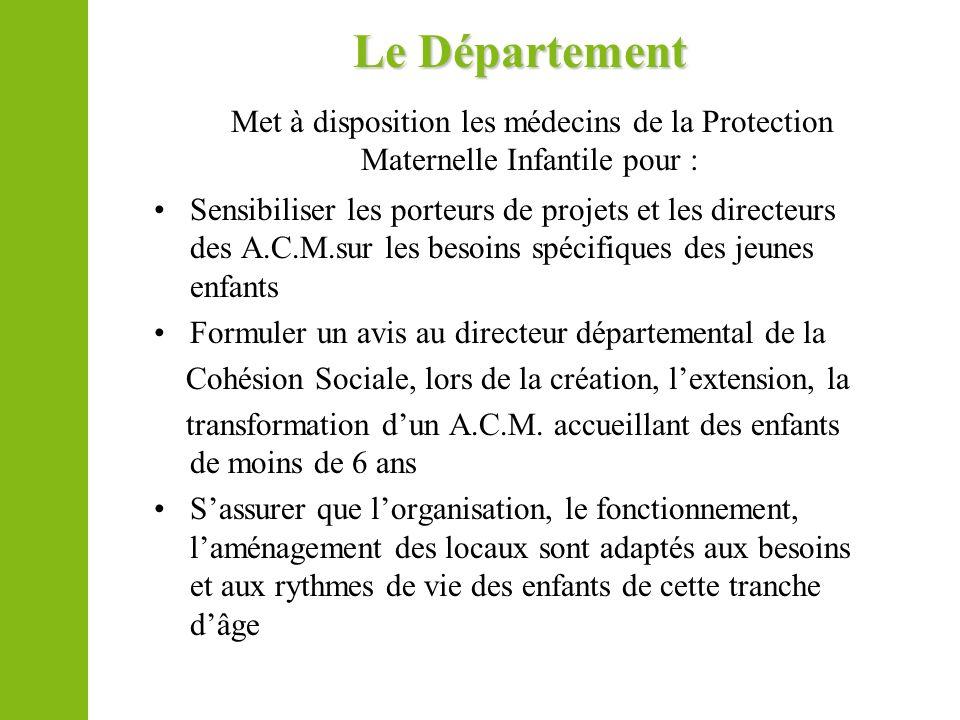 Le Département Met à disposition les médecins de la Protection Maternelle Infantile pour : Sensibiliser les porteurs de projets et les directeurs des