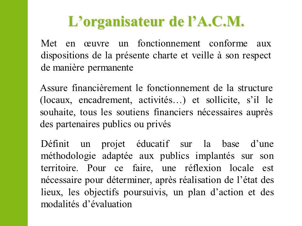 Lorganisateur de lA.C.M. Met en œuvre un fonctionnement conforme aux dispositions de la présente charte et veille à son respect de manière permanente