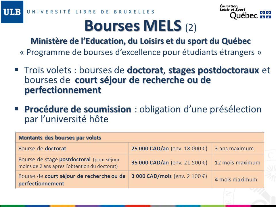 cotutelle pas admissibles Programmes de cotutelle pas admissibles Début de la bourse Début de la bourse entre le 1 er mai et le 15 janvier www.fqrnt.gouv.qc.ca/bourses/Fiches_programmes/index_V3_3B _3C_3I_3M_3W.htm Bourses MELS Ministère de lEducation, du Loisirs et du sport du Québec Bourses MELS (3) Ministère de lEducation, du Loisirs et du sport du Québec « Programme de bourses dexcellence pour étudiants étrangers » Exemple du calendrier 2013 A la date fixée par luniversité hôteDemande dappui de létablissement daccueil 30 septembre à 16h Présentation par luniversité hôte des candidats présélectionnés (4 maximum par université pour chaque volet) 1 er novembre à minuit Envoi du formulaire électronique par les candidats présélectionnés par le FRQNT Fin marsAnnonce des résultats