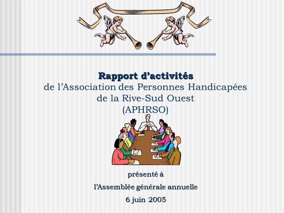 présenté à lAssemblée générale annuelle 6 juin 2005 Rapport dactivités Rapport dactivités de lAssociation des Personnes Handicapées de la Rive-Sud Ouest (APHRSO)