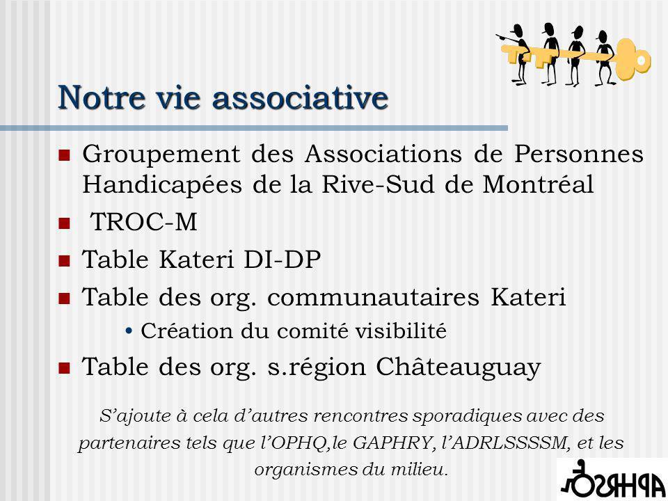 Notre vie associative Groupement des Associations de Personnes Handicapées de la Rive-Sud de Montréal TROC-M Table Kateri DI-DP Table des org.