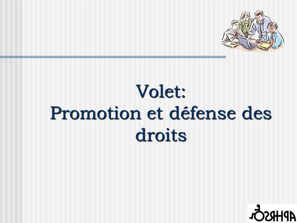 Volet: Promotion et défense des droits