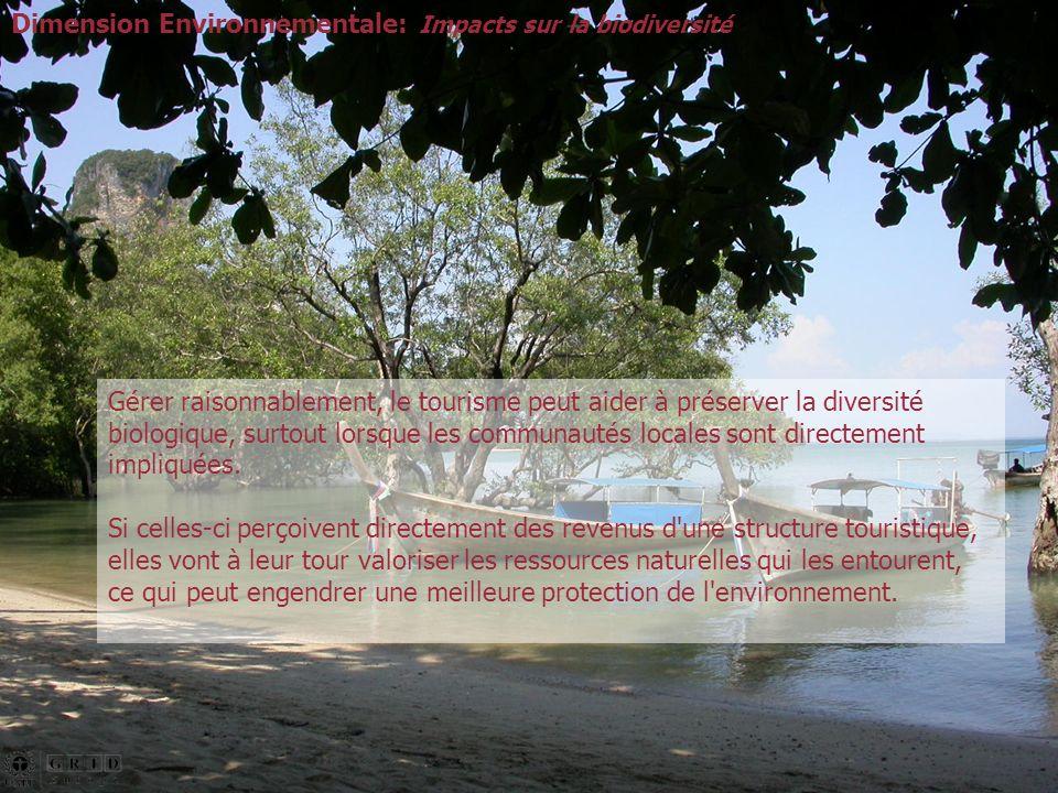 Gérer raisonnablement, le tourisme peut aider à préserver la diversité biologique, surtout lorsque les communautés locales sont directement impliquées.