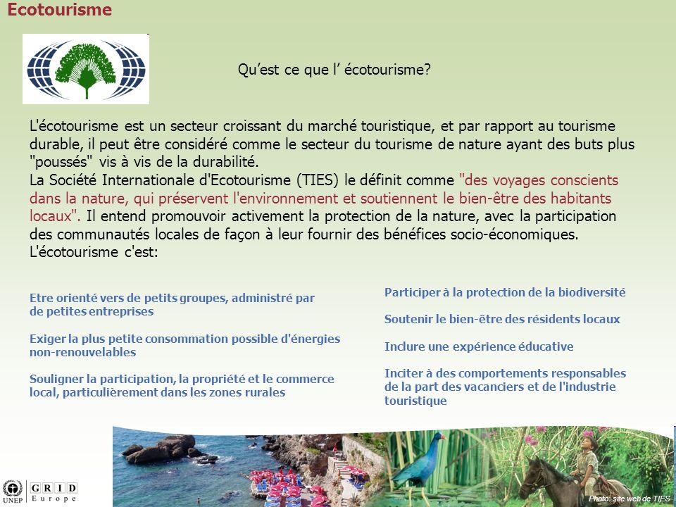 L écotourisme est un secteur croissant du marché touristique, et par rapport au tourisme durable, il peut être considéré comme le secteur du tourisme de nature ayant des buts plus poussés vis à vis de la durabilité.
