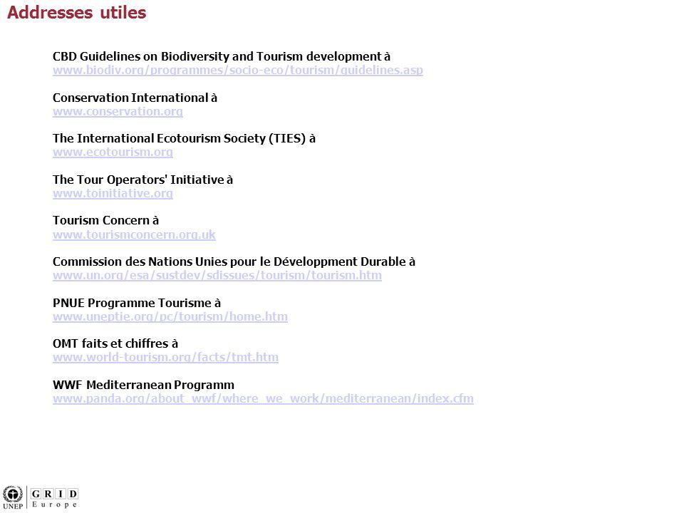CBD Guidelines on Biodiversity and Tourism development à www.biodiv.org/programmes/socio-eco/tourism/guidelines.asp Conservation International à www.c