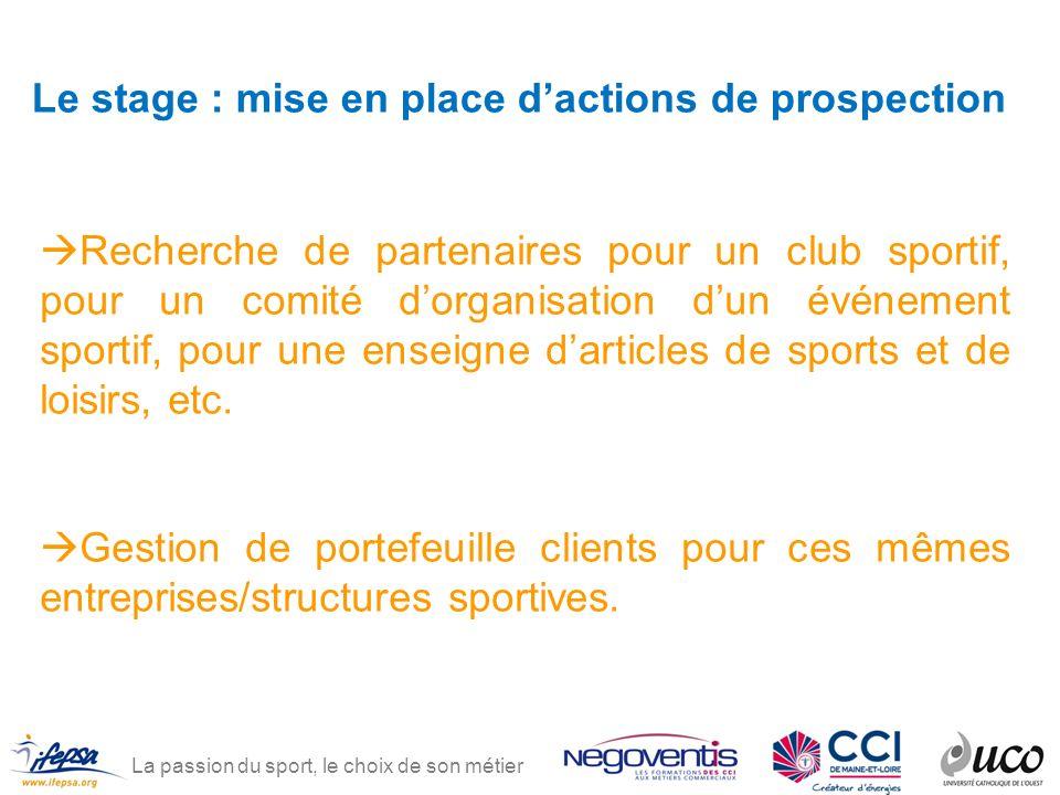 La passion du sport, le choix de son métier Le stage : mise en place dactions de prospection Recherche de partenaires pour un club sportif, pour un co