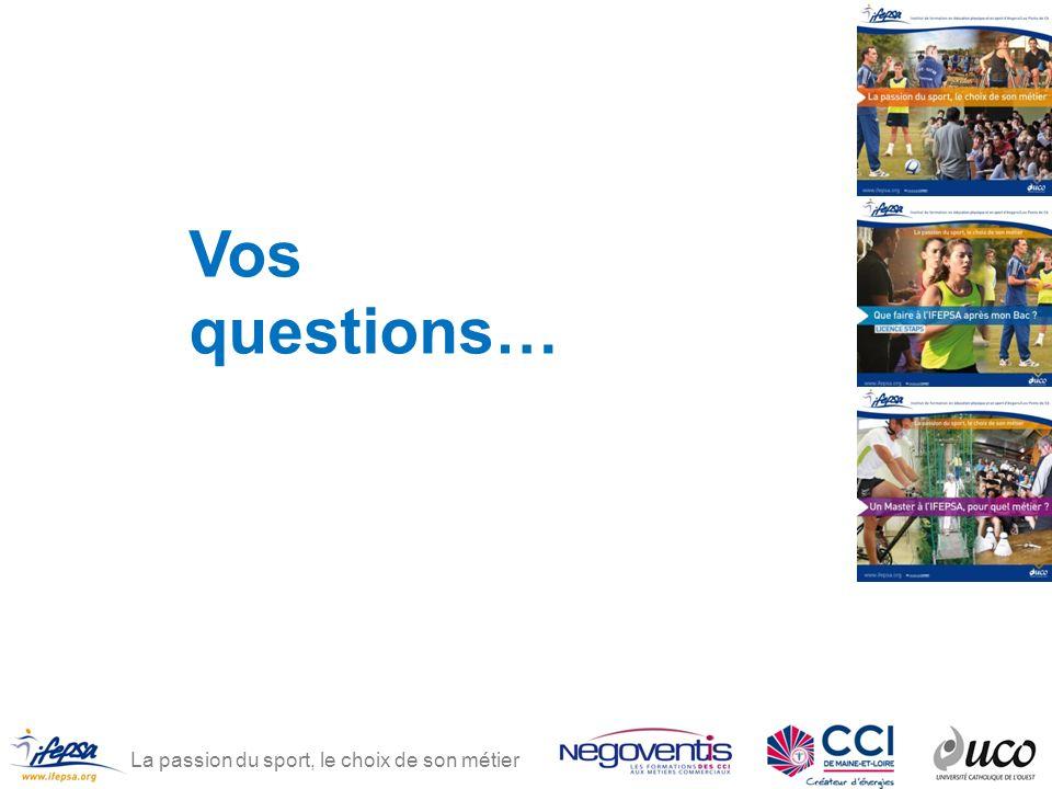 La passion du sport, le choix de son métier Vos questions…