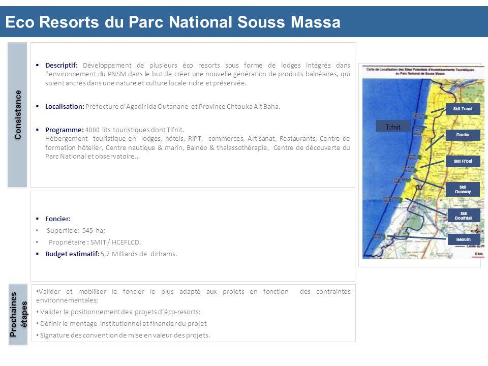 Eco Resorts du Parc National Souss Massa 14 Descriptif: Développement de plusieurs éco resorts sous forme de lodges intégrés dans lenvironnement du PN