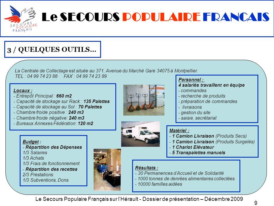 Le Secours Populaire Français sur lHérault - Dossier de présentation – Décembre 2009 20 5/ SUR LE TERRAIN : passer du « je » au « nous » G/ DANS LE MONDE Les actions pour létranger sont ancrées dans la démarche du SPF depuis sa création en 1945.