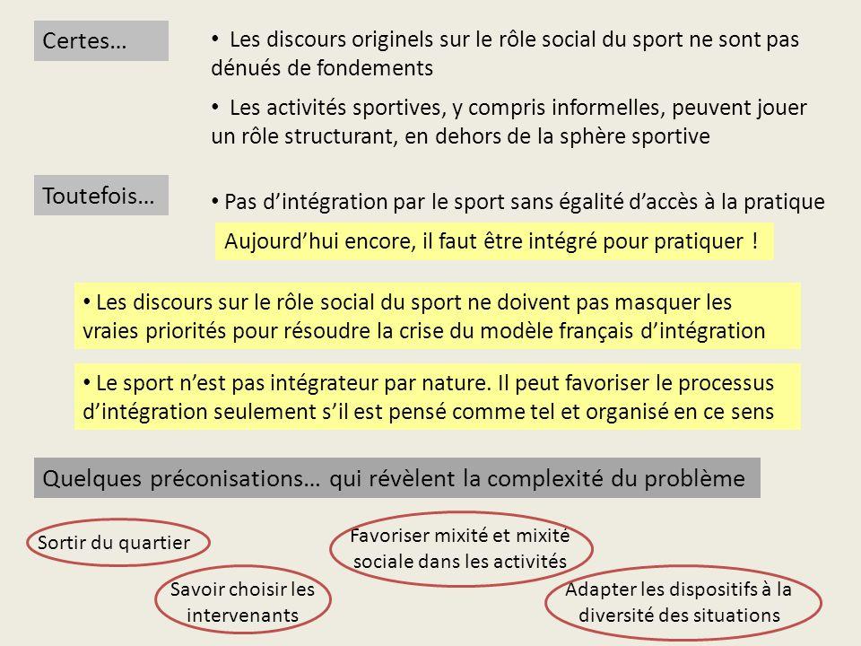Quelques préconisations… qui révèlent la complexité du problème Certes… Les discours originels sur le rôle social du sport ne sont pas dénués de fonde