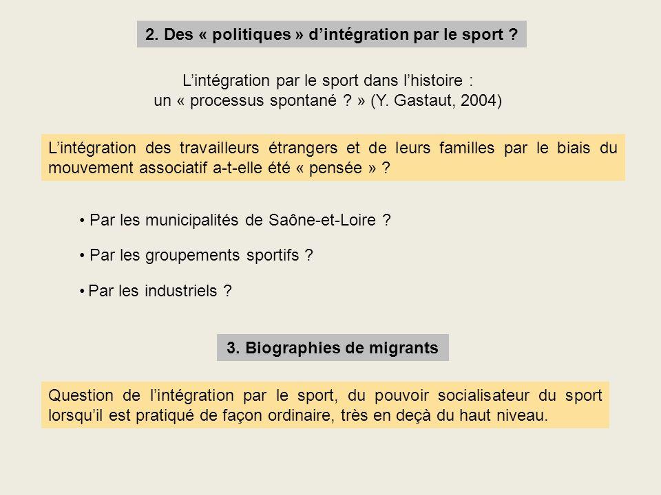 2. Des « politiques » dintégration par le sport ? Lintégration par le sport dans lhistoire : un « processus spontané ? » (Y. Gastaut, 2004) Lintégrati