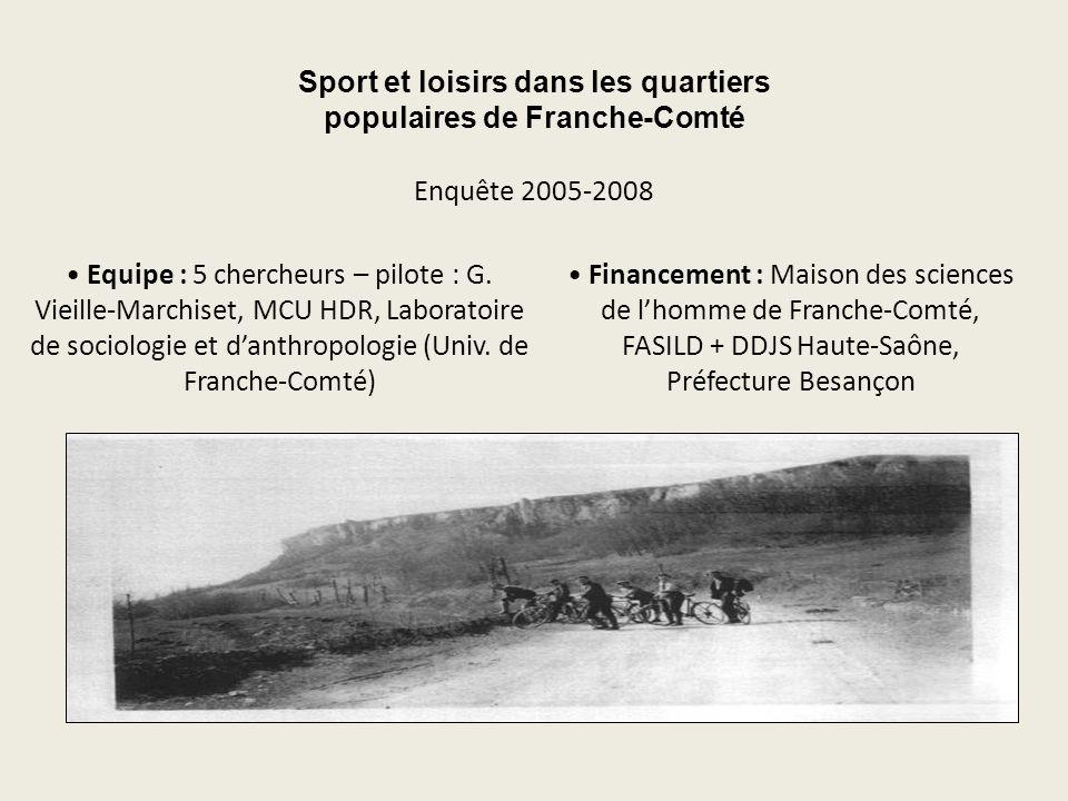 Sport et loisirs dans les quartiers populaires de Franche-Comté Equipe : 5 chercheurs – pilote : G. Vieille-Marchiset, MCU HDR, Laboratoire de sociolo