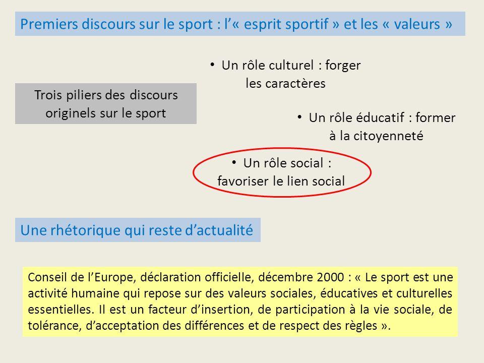Une rhétorique qui reste dactualité Conseil de lEurope, déclaration officielle, décembre 2000 : « Le sport est une activité humaine qui repose sur des valeurs sociales, éducatives et culturelles essentielles.