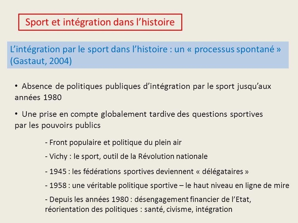Sport et intégration dans lhistoire Lintégration par le sport dans lhistoire : un « processus spontané » (Gastaut, 2004) Absence de politiques publiqu