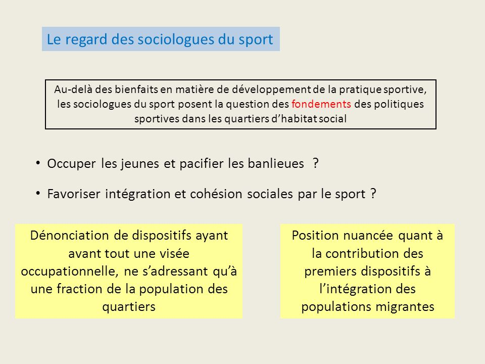 Le regard des sociologues du sport Occuper les jeunes et pacifier les banlieues ? Position nuancée quant à la contribution des premiers dispositifs à