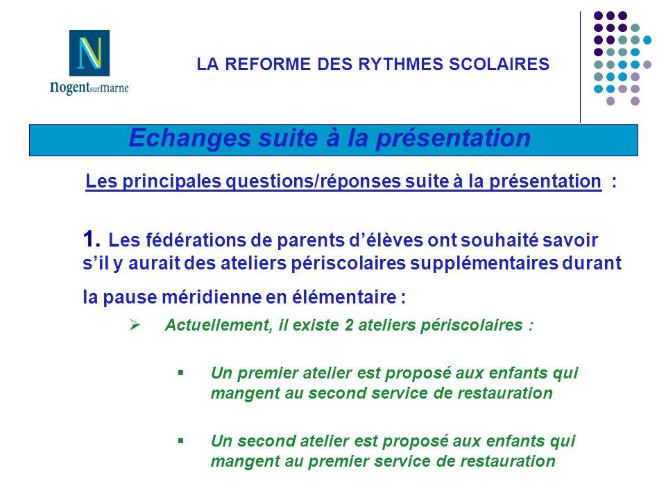 Echanges suite à la présentation LA REFORME DES RYTHMES SCOLAIRES Les principales questions/réponses suite à la présentation : 1.
