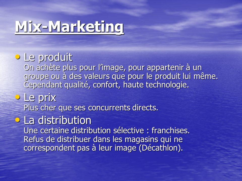 Mix-Marketing Le produit On achète plus pour limage, pour appartenir à un groupe ou à des valeurs que pour le produit lui même. Cependant qualité, con