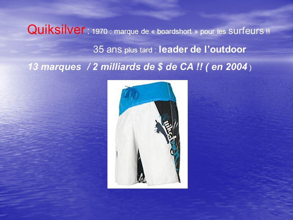 Quiksilver : 1970 : marque de « boardshort » pour les surfeurs !! 35 ans plus tard : leader de loutdoor 13 marques / 2 milliards de $ de CA !! ( en 20