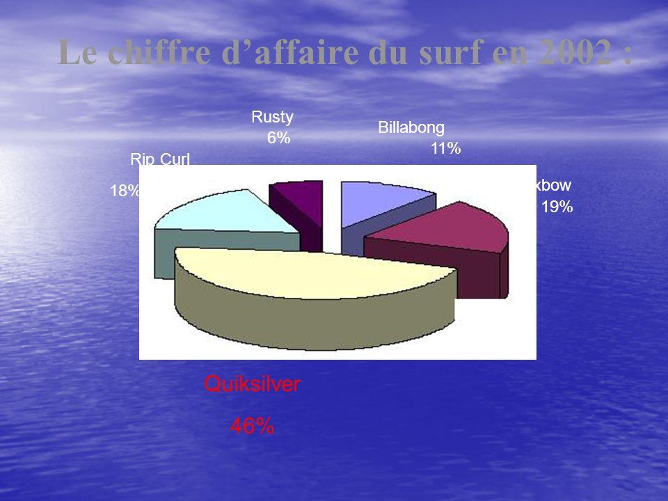 Quiksilver Rip Curl Billabong Rusty Oxbow 18% 6% 11% 19% 46% Le chiffre daffaire du surf en 2002 :