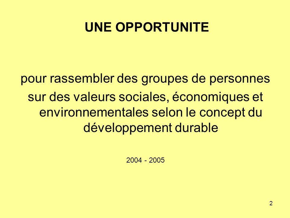 2 UNE OPPORTUNITE pour rassembler des groupes de personnes sur des valeurs sociales, économiques et environnementales selon le concept du développement durable 2004 - 2005