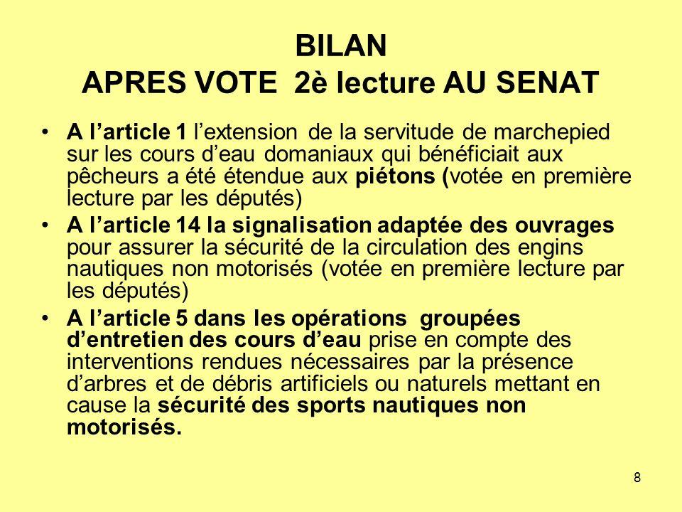 9 BILAN APRES VOTE EN 2ème LECTURE A LASSEMBLEE NATIONALE LE 13 décembre 2006 2 amendements FFCK ont été déposés et soutenus par G.