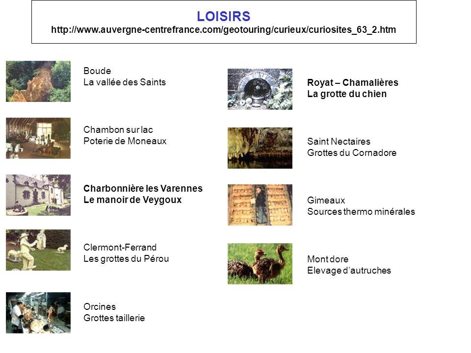 LOISIRS http://www.auvergne-centrefrance.com/geotouring/curieux/curiosites_63_2.htm Mont dore Elevage dautruches Gimeaux Sources thermo minérales Sain