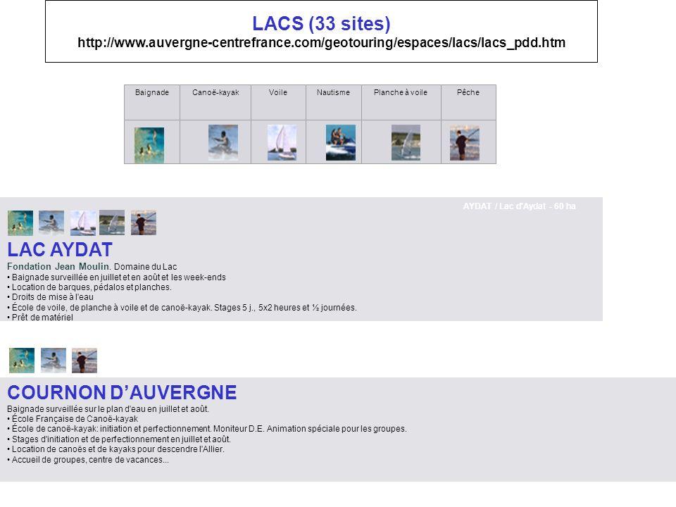 LACS (33 sites) http://www.auvergne-centrefrance.com/geotouring/espaces/lacs/lacs_pdd.htm BaignadeCanoë-kayakVoileNautismePlanche à voilePêche AYDAT /