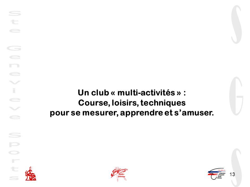 13 Un club « multi-activités » : Course, loisirs, techniques pour se mesurer, apprendre et samuser.