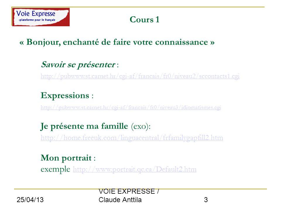 25/04/13 VOIE EXPRESSE / Claude Anttila 3 Cours 1 « Bonjour, enchanté de faire votre connaissance » Savoir se présenter : http://pubwww.st.carnet.hr/c