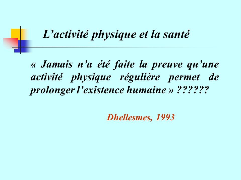 « Jamais na été faite la preuve quune activité physique régulière permet de prolonger lexistence humaine » ?????.