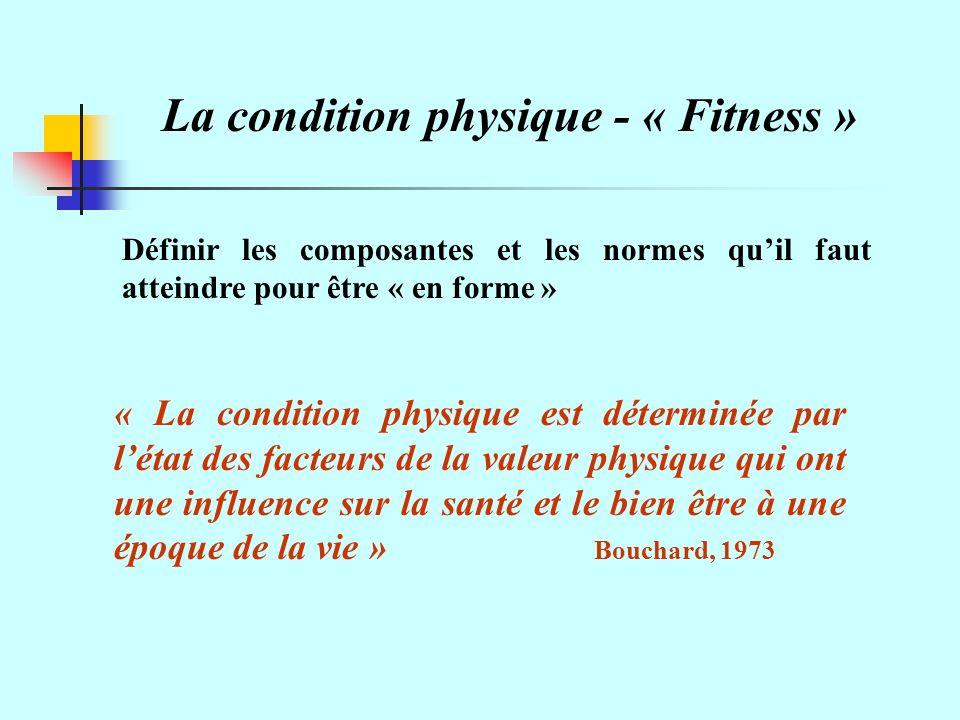 La condition physique - « Fitness » Définir les composantes et les normes quil faut atteindre pour être « en forme » « La condition physique est déterminée par létat des facteurs de la valeur physique qui ont une influence sur la santé et le bien être à une époque de la vie » Bouchard, 1973