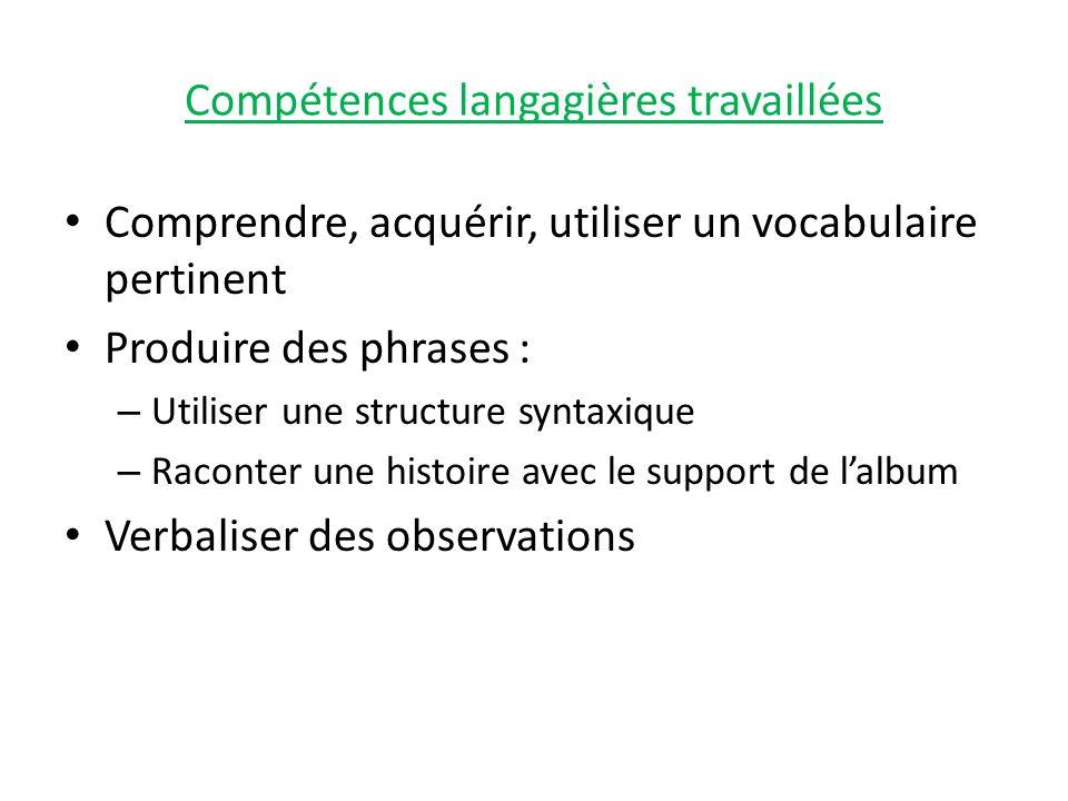 Compétences langagières travaillées Comprendre, acquérir, utiliser un vocabulaire pertinent Produire des phrases : – Utiliser une structure syntaxique