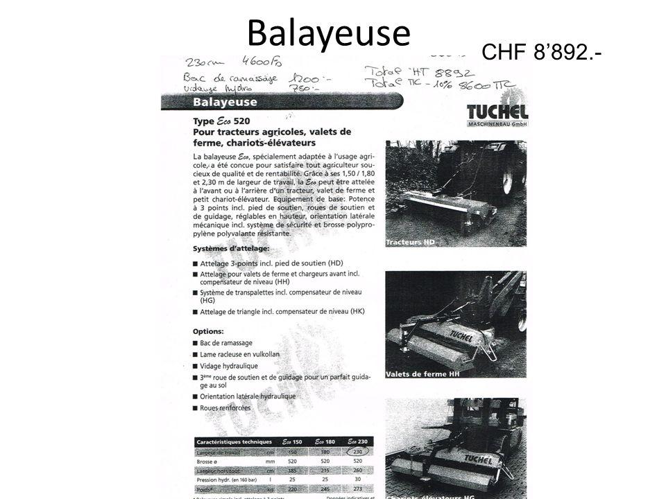 Balayeuse CHF 8892.-