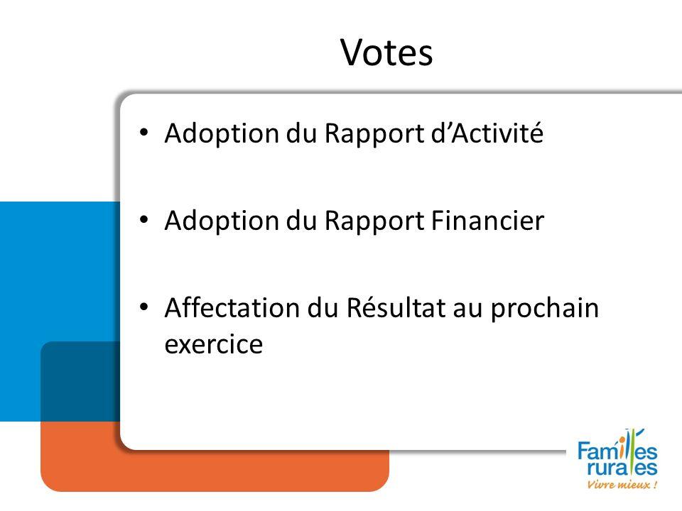Adoption du Rapport dActivité Adoption du Rapport Financier Affectation du Résultat au prochain exercice Votes