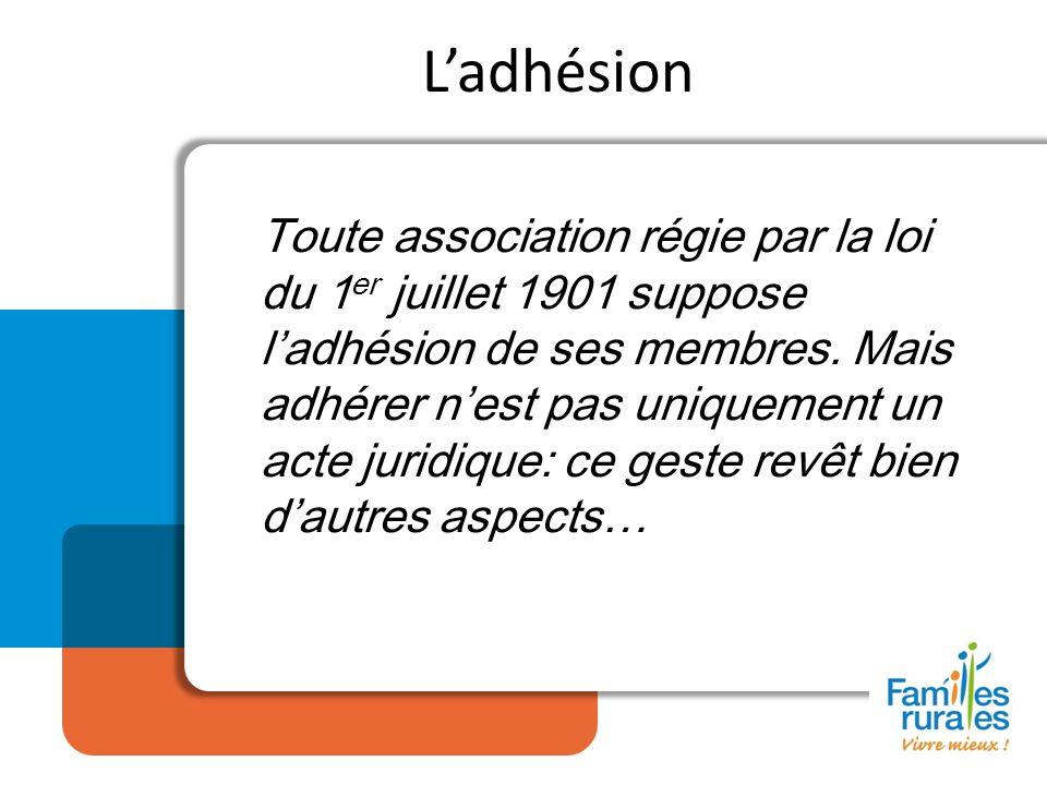 Ladhésion Toute association régie par la loi du 1 er juillet 1901 suppose ladhésion de ses membres. Mais adhérer nest pas uniquement un acte juridique