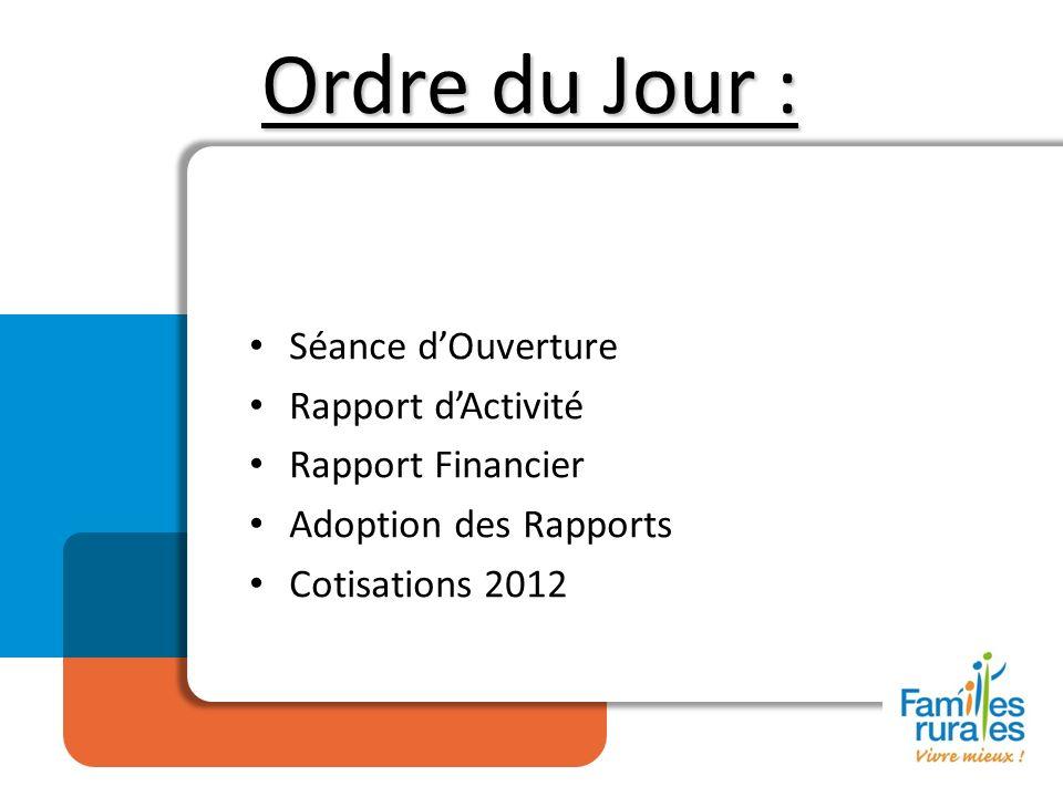 Ordre du Jour : Séance dOuverture Rapport dActivité Rapport Financier Adoption des Rapports Cotisations 2012