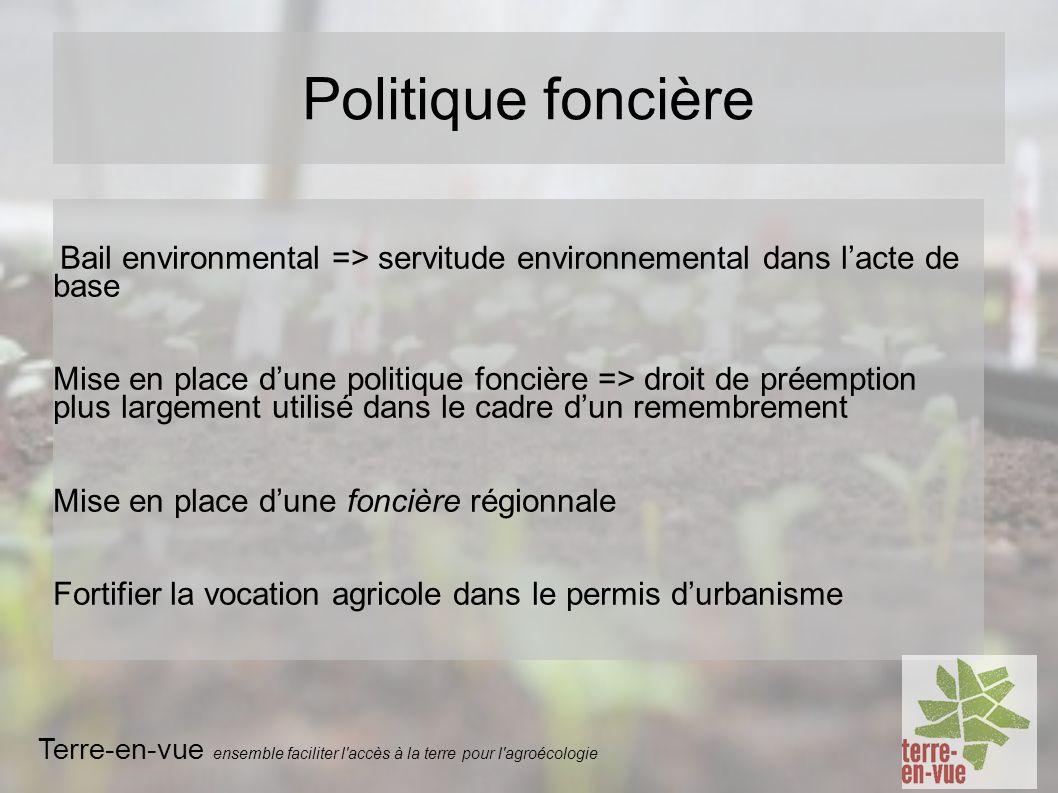 Bail environmental => servitude environnemental dans lacte de base Mise en place dune politique foncière => droit de préemption plus largement utilisé