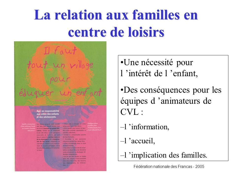 La relation aux familles en centre de loisirs Une nécessité pour l intérêt de l enfant, Des conséquences pour les équipes d animateurs de CVL : –l inf