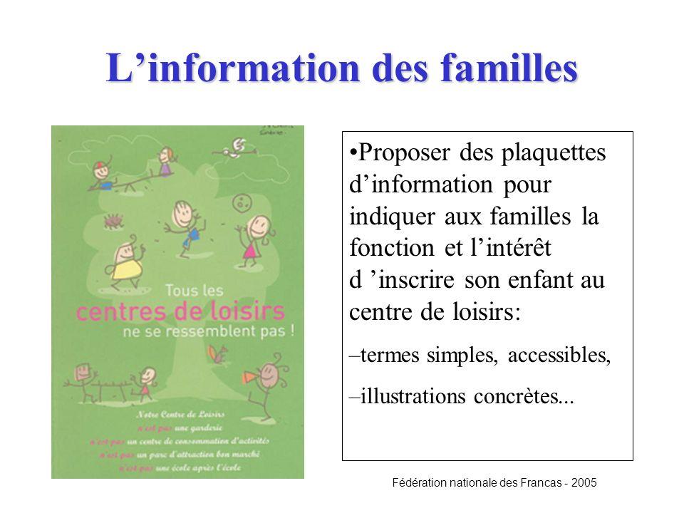 Linformation des familles Proposer des plaquettes dinformation pour indiquer aux familles la fonction et lintérêt d inscrire son enfant au centre de l