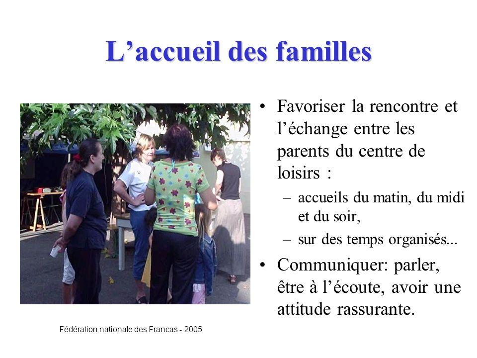 Laccueil des familles Favoriser la rencontre et léchange entre les parents du centre de loisirs : –accueils du matin, du midi et du soir, –sur des tem