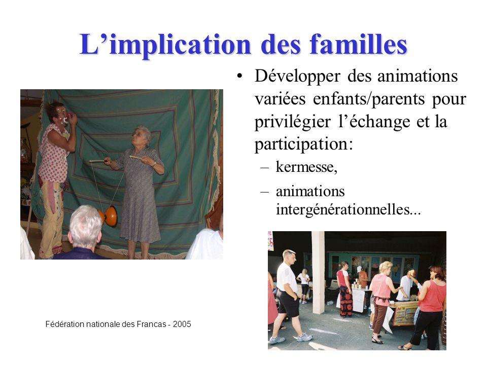 Limplication des familles Développer des animations variées enfants/parents pour privilégier léchange et la participation: –kermesse, –animations inte