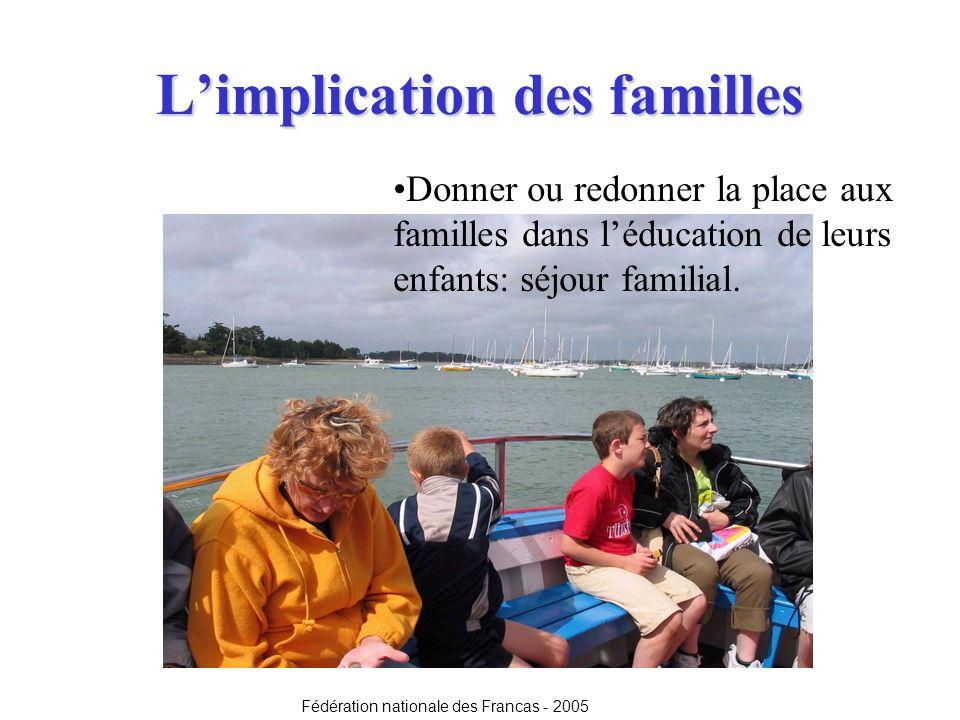 Limplication des familles Donner ou redonner la place aux familles dans léducation de leurs enfants: séjour familial. Fédération nationale des Francas