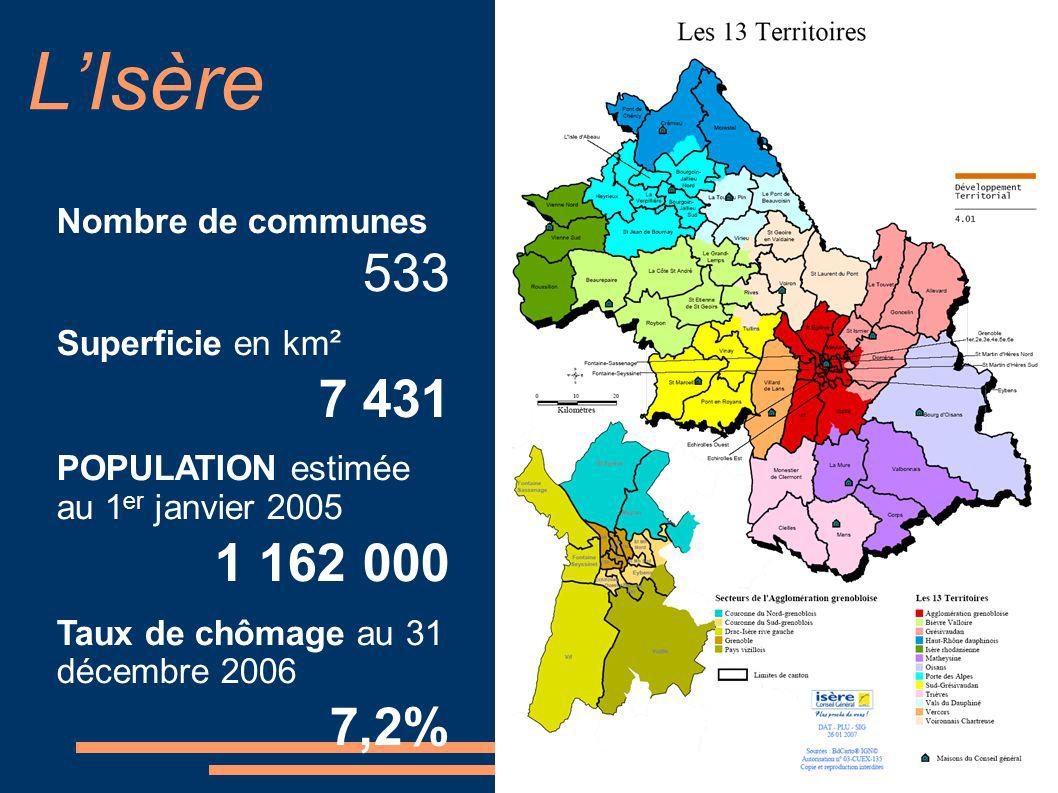 LIsère Nombre de communes 533 Superficie en km² 7 431 POPULATION estimée au 1 er janvier 2005 1 162 000 Taux de chômage au 31 décembre 2006 7,2%